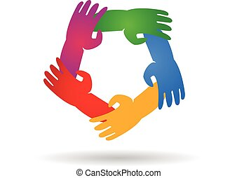 logotipo, trabalho equipe, ao redor, mãos