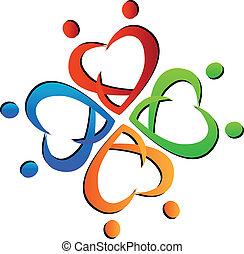 logotipo, trabalho equipe, ao redor, pessoas