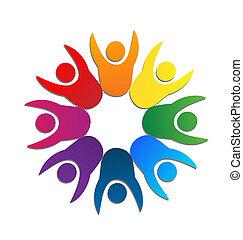 logotipo, trabalho equipe, cartão negócio