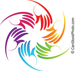 logotipo, trabalho equipe, coloridos, mãos