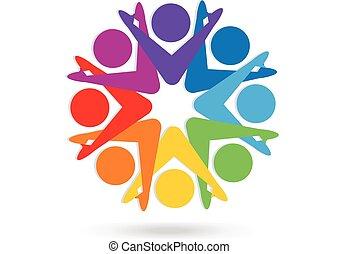 logotipo, trabalho equipe, coloridos, pessoas
