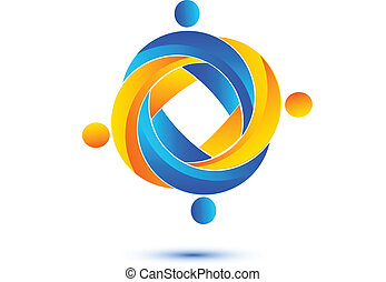 logotipo, trabalho equipe, comércio pessoas