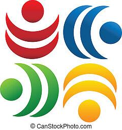 logotipo, trabalho equipe, comunidade, pessoas