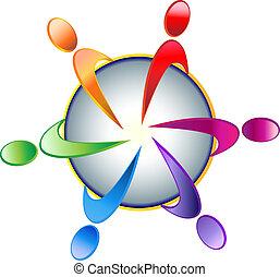logotipo, trabalho equipe, comunidade