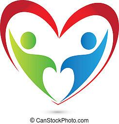 logotipo, trabalho equipe, coração vermelho