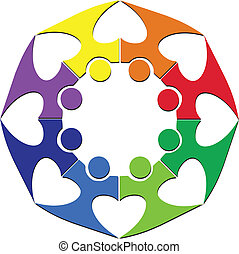 logotipo, trabalho equipe, coração
