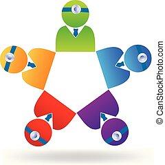 logotipo, trabalho equipe, doutor
