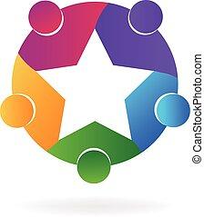 logotipo, trabalho equipe, estrela, pessoas