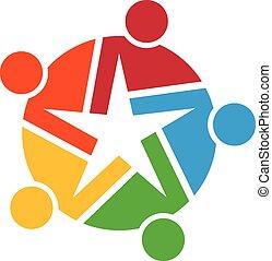 logotipo, trabalho equipe, estrelas
