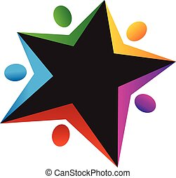 logotipo, trabalho equipe, forma estrela