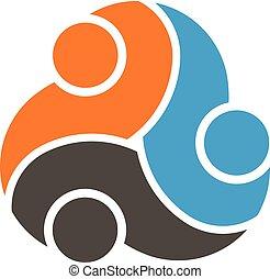 logotipo, trabalho equipe, grupo, três pessoas
