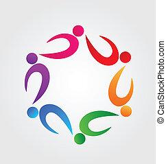 logotipo, Trabalho equipe, identidade, cartão, ícone