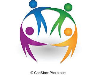 logotipo, trabalho equipe, junto, pessoas