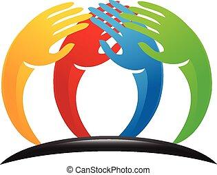 logotipo, trabalho equipe, mãos, unidade