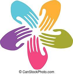 logotipo, trabalho equipe, mãos