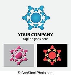 logotipo, trabalho equipe, modelo