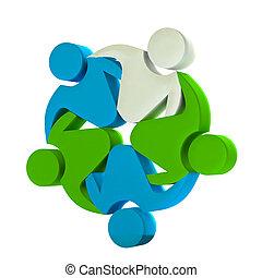 logotipo, trabalho equipe, negócio, 3d