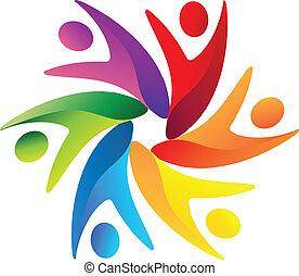 logotipo, trabalho equipe, negócio, swoosh