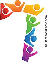 logotipo, trabalho equipe, numere 7