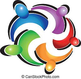 logotipo, trabalho equipe, pessoas, abraço