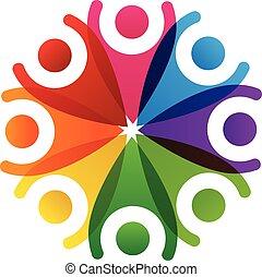 logotipo, trabalho equipe, pessoas, feliz