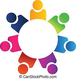 logotipo, trabalho equipe, pessoas negócio