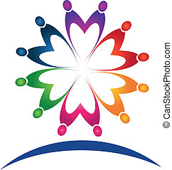 logotipo, trabalho equipe, pessoas, vetorial