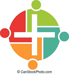 logotipo, trabalho equipe, religiosas, pessoas