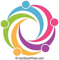 logotipo, trabalho equipe, símbolo, desenho
