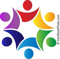 logotipo, trabalho equipe, soluções