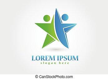 logotipo, trabalho equipe, sucesso, pessoas