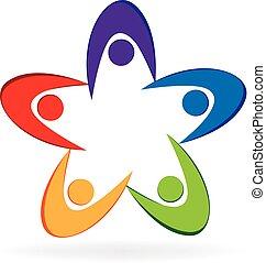 logotipo, trabalho equipe, swooshes
