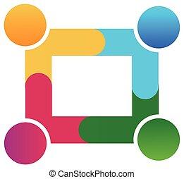 logotipo, trabalho equipe, trabalhe