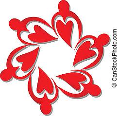 logotipo, trabalho equipe, vermelho, corações