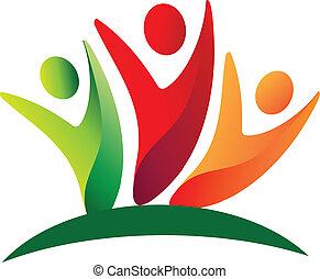 logotipo, trabalho equipe