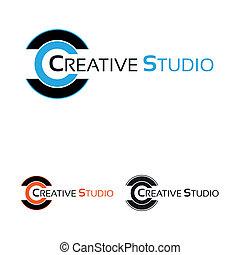 logotipo, trabalho, estúdio, criativo
