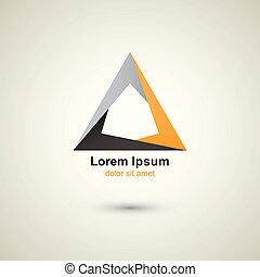logotipo, triángulo, plantilla
