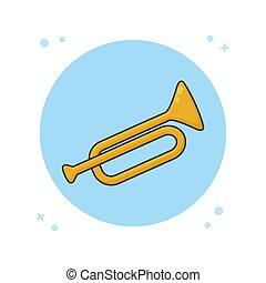 logotipo, tromba, orchestra, instrument., simbolo musica, illustrazione, vettore