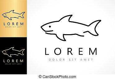 logotipo, tubarão, vetorial
