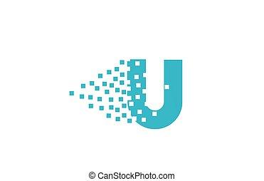 logotipo, u, companhia, gasto, pixel, incorporado, letra ...