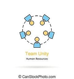 logotipo, unidade, -, linear, equipe
