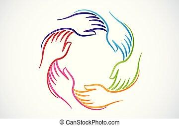 logotipo, unidade, mãos, trabalho equipe, pessoas