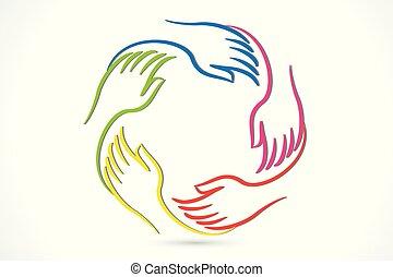 logotipo, unidade, mãos