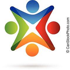 logotipo, unidade, trabalho equipe
