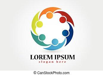 logotipo, unidade, trabalho equipe, pessoas