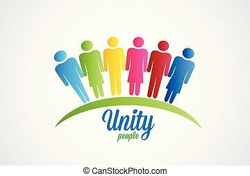logotipo, unidade, vetorial, feliz, pessoas