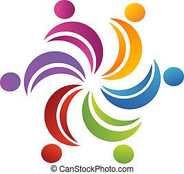 logotipo, unidas, trabalho equipe