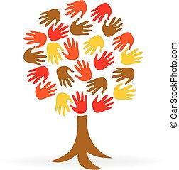logotipo, unità, mani, albero, persone