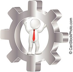 logotipo, uomo, ingranaggio, 3d