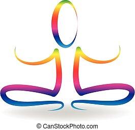logotipo, uomo yoga